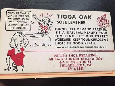 Tioga Oak Sole Leather Philip's Shoe Preston St Philadelphia Blotter