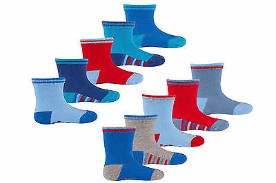 New Baby Boy 10 Pairs Blue, Grey and Red Cotton Rich Socks 0-24 months