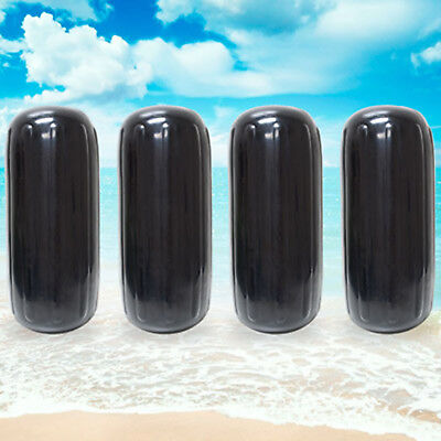 "Center Hole Ribbed Boat Fender 8"" x 20"" 4pcs Inflatable Mooring Guard - Black"
