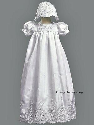 Girls White Christening Dress Baptism Gown Beads & Sequins Floral Size 3M-18M