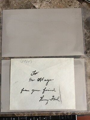 RARE HENRY FORD Signed in Ink Envelope - Autographed Paper - ORIGINAL Signature