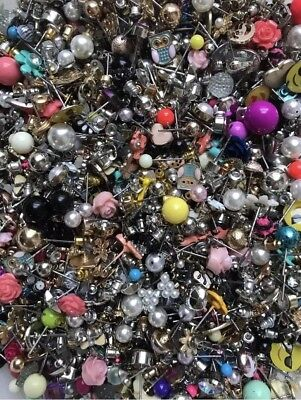 5 lb lot of Small Stud Earrings and Backs - mismatched loose crafts