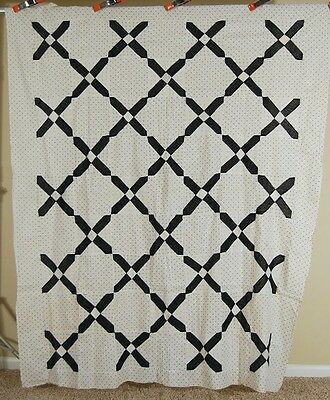 "VIBRANT 1880's Black & White ""Old Italian Block"" Antique Quilt Top ~MINT COND.!"