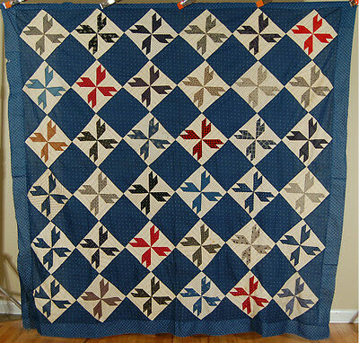 "1880's Vintage ""Crow's Foot"" Patchwork Antique Quilt Top ~NICE BLUE BACKGROUND!"