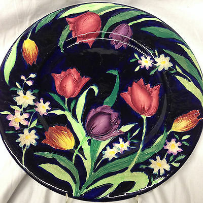 "Maling England 11.25"" Plate 6064 Embossed Tulips Black Background As Is Crazing"