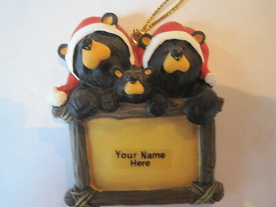 Bearfoots Bear Couple Ornament with 1 Cub Family  Big Sky Carvers Write in name