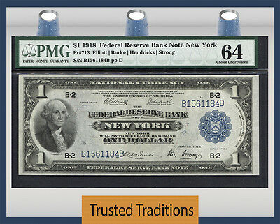 Tt Fr 713 1918 $1 Federal Reserve Bank Note New York Pmg 64 Choice Uncirculated