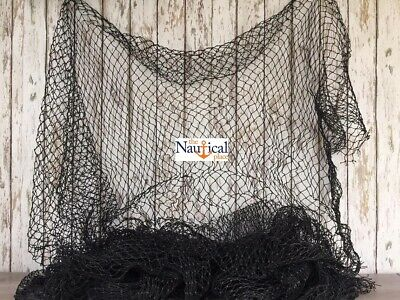 Authentic Fishing Net ~ 5'x7' BLACK ~ KNOTLESS ~ Vintage Used Fish Netting