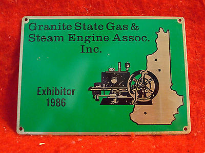 1986 Granite State Gas & Steam Association Incorporated Brass Exhibitor Plaque