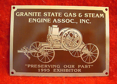 1995 Granite State Gas & Steam Association Incorporated Brass Exhibitor Plaque