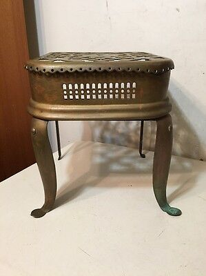 Antique Pierced Brass Footman Stool Plant Stand Trivet Victorian