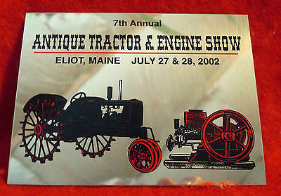 2002 Antique Tractor & Engine Show Metal Plaque Eliot ME Oliver, Hit Miss Engine