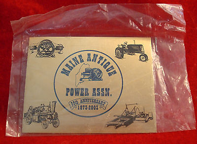 Maine Antique Power Association Inc 2003 Exhibitor Brass Plaque 30th Anniversary