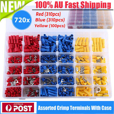 720pcs Electrical Wire Connector Assorted Insulated Crimp Terminals Spade Set DH