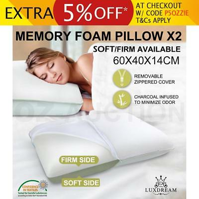 New Two Sides Selected Plus Molded Memory Foam Pillow Visco Elastic x2