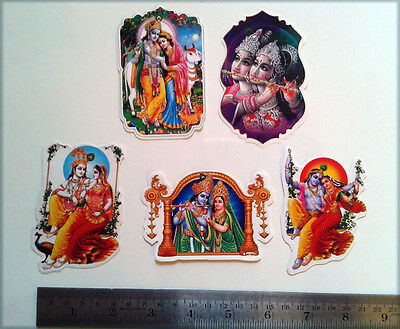"Lord Krishna with Radha ~ 5 Sticker Stickers (Front & Back Same Print) 2""x3"""