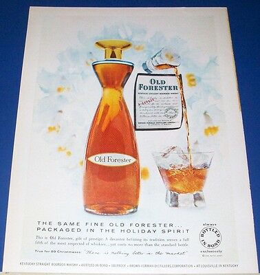 1958 Old Forester Whisky Christmas Holiday decanter Ad