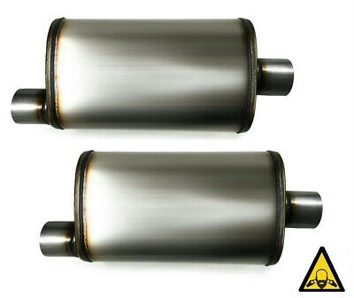 Two universal stainless steel straight through perforated Performance Mufflers