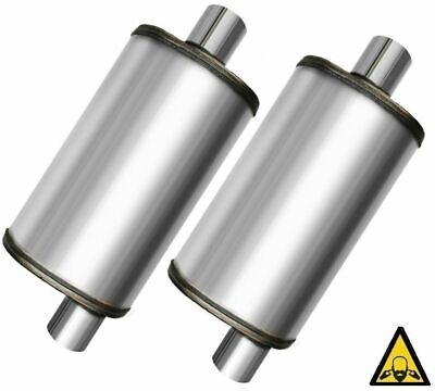 """Two Universal Stainless steel perforated Performance Muffler 2.5"""""""