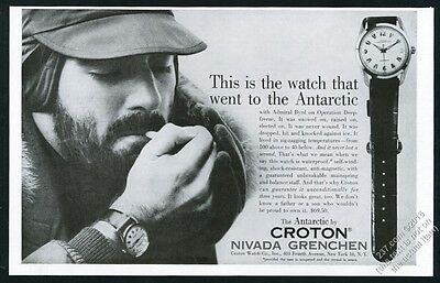 1957 Croton Antarctic watch photo Nivada Grenchen vintage print ad