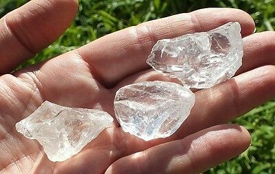 Clear Quartz Crystal x3 Raw Facet Rough Mineral Uncut Gems A Grade 210ct 29-39mm