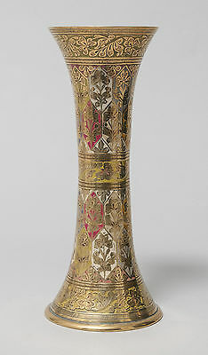 Antique Indian Brass and Multi Colour Enamel Trumpet Vase with Floral Chasing