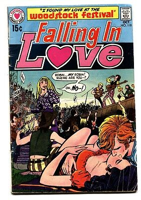 Falling In Love #118 comic book 1970-DC-Woodstock Concert issue-