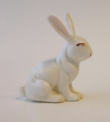 Vintage WHITE RABBIT MINIATURE FIGURINE Porcelain Ceramic Easter Bunny Animal