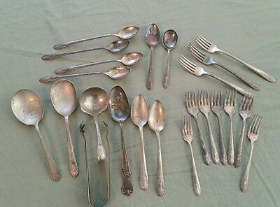 Vintage Lot Mixed Silvetware Silverplate  23 pcs.  Silver Plate