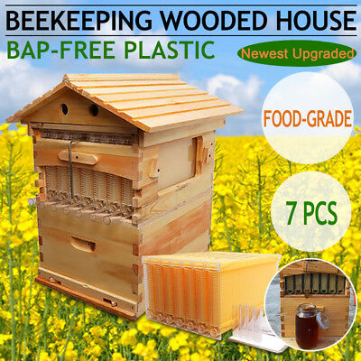 7PCS Auto Honey Beehive Hive Frames + Beekeeping Cedarwood Super Brood Box