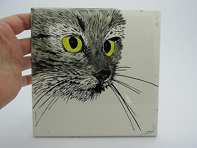 Signed C. Noble Domestic CAT Ceramic Tile Trivet.  Beautifully Hand Painted Art