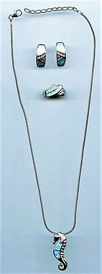 #S007 Sea Horse Necklace Earrings Ring Set Sterling Silver & Aqua Sparkly Stones