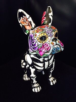 Day Of The Dead Large French Bulldog Coin Bank Statue NEW Frenchie Sugar Skull