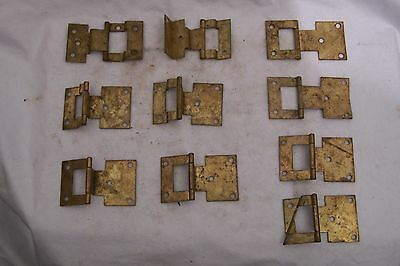 Misc. Lot of 10 Vintage Metal Offset Cabinet Hinges Wood Working Crafts Unique
