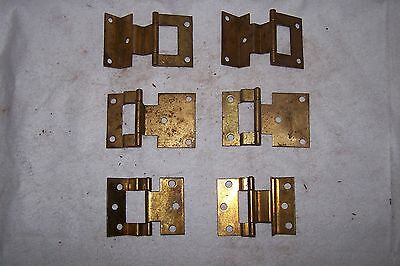 Misc. Lot of 6 Vintage Metal Offset Cabinet Hinges Wood Working Crafts Unique