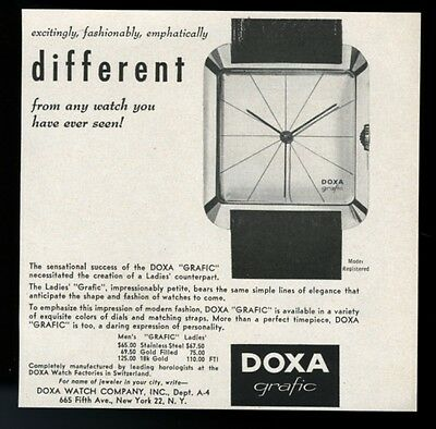1958 Doxa Grafic modern watch photo & pricing vintage print ad