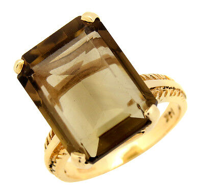 Women's Rare Natural Brown Iolite Solitaire 14.71 ct Ring in 14k Solid Gold