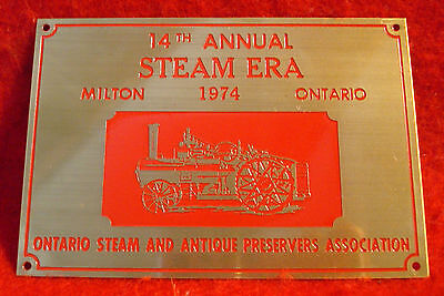 1974 Ontario Steam & Antique Preservers Assc 14th Annual Show Brass Plaque