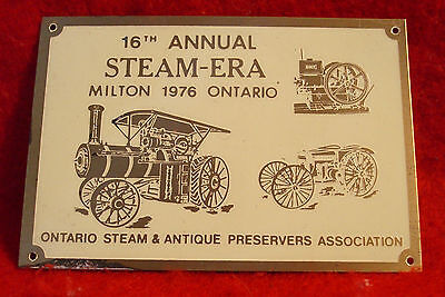 1976 Ontario Steam & Antique Preservers Assc 16th Annual Show Brass Plaque