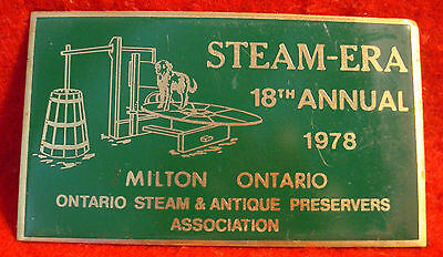 1978 Ontario Steam & Antique Preservers Assc 18th Annual Show Brass Plaque