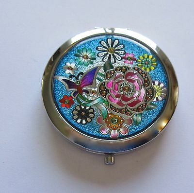 Mirror/Compact- Round flowers butterfly  blue pink green yellow- silver