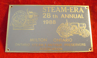 1988 Ontario Steam & Antique Preservers Assc 28th Annual Show Brass Plaque