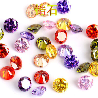 SIZE 8mm Round Cut Natural Zircon Gems Diamonds VVS Loose Gemstones 12Colors