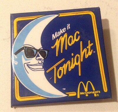 "1988 McDonald's Mac Tonight Pinback Button Badge 2 1/8"" Sq. Fast Food Pin"