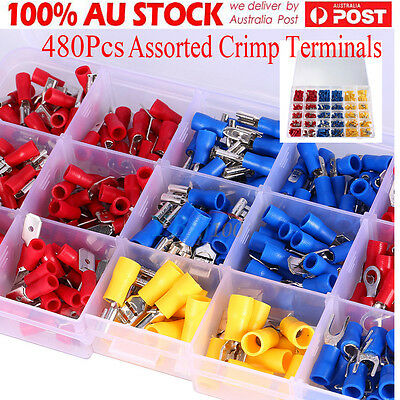 480PS Assorted Crimp Terminals Set Insulated Electrical Wiring Connector Kit DH