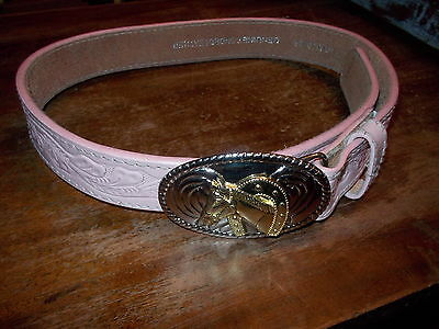 "NOON Pink Leather Belt With HORSE Buckle 28""  By Noon Belt.com"