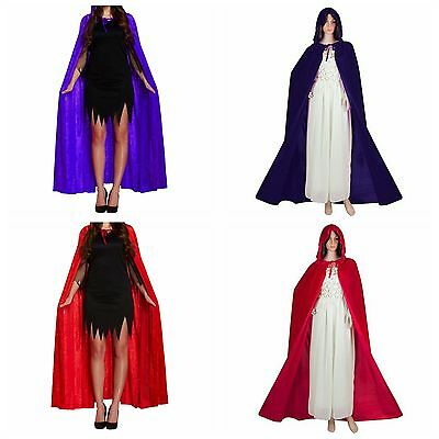 Women Velvet Cape W/ Hood Halloween Robe Medieval Witch Cosplay Costume Cloak
