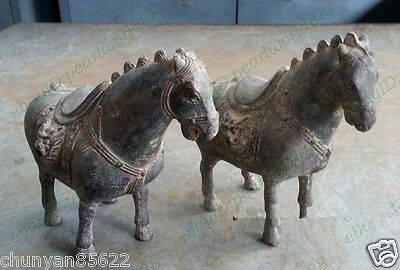 antique Oriental Favorites Coins Lucky a pair horse ancient Bronze Old statues