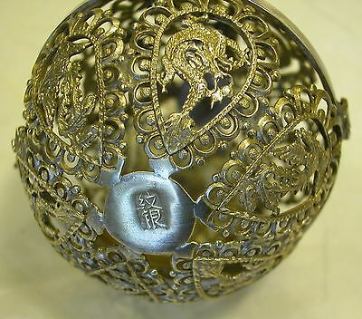 A Fine Antique Chinese Solid Silver Hallmarked Ball With Dragons All Around