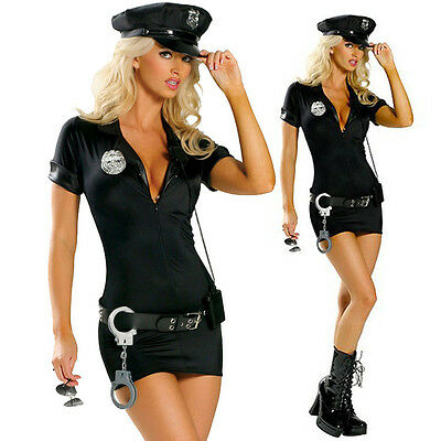 Size S-2XL Adult Womens Police Cop Costume Fancy Dress Halloween party uniform